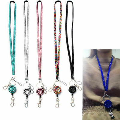 Rhinestone Bling Crystal Neck Lanyard Strap ID Badge Cell Phone Key Holder Gift