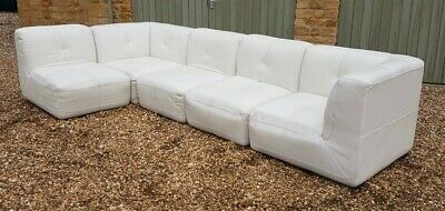 ITALIAN WHITE LEATHER Sectional Sofa, 3 centre sections and ...