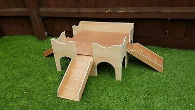(Large Deluxe 3 Ramp)  Two Storey Guinea Pig Castle /Shelter . Fully Assembled