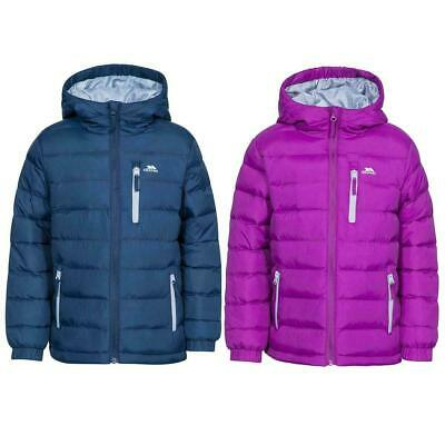 Unisex Trespass Aksel Boys Girls Quilted School Kids Jacket Padded Hooded Coat