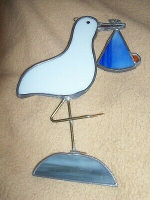 Stained Glass *Stork* Carrying A Baby Bundle -  Window Sun Catcher Bird