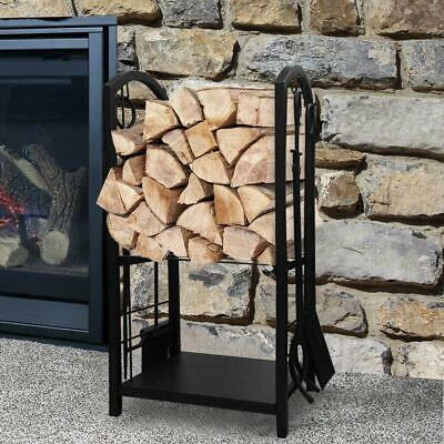 Tall Firewood Storage Rack With Tools Log Holder Steel Basket Fireplace Stand