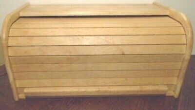 "New Kamenstein Roll Top Wood Loaf 16"" X 9"" X 7.5"" Counter Top Kitchen Bread Box"