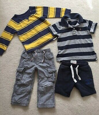 Gap Bundle Boys 2 Years Polo Top Warm Trousers Light Jumper, Next Shorts Clean!