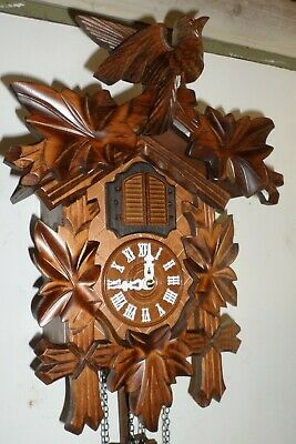 Mint German Black Forest Josef Engstler Deeply Carved Large Cuckoo Clock!