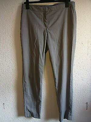H&M Pale Grey Straight Trousers.Zip Clip Button Fly.Pockets.Polyester Viscose.14