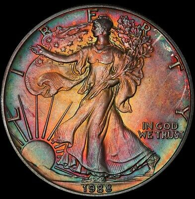 MS66 1988 $1 Silver Eagle Dollar ASE PCGS Secure- Rainbow Toned