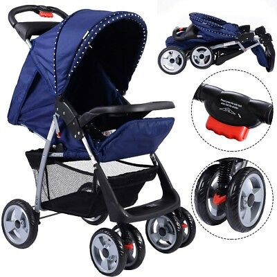 Foldable Baby Kids Travel Stroller Sleeping Cushion Equipped Blue/Gray/Red New