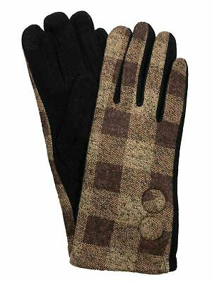 Womens Brown & Tan Button Plaid Stretch Fit Texting & Tech Touchscreen Gloves
