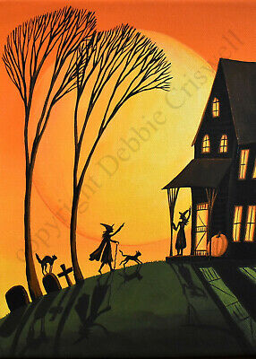 ACEO Halloween folk art print VISITING WITCHES black cats pumpkin miniature DC