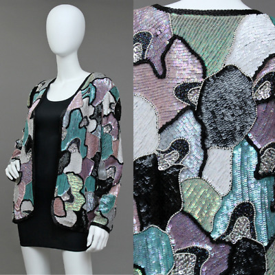 Vintage Abstract Mosaic Sequin Beaded Embellished Luxe Glam Silk Jacket L-Xl