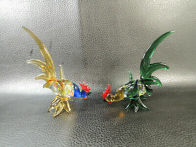 Pair Figurine Roosters Murano Multi-Color Hand Blown Glass Italian Art Glass