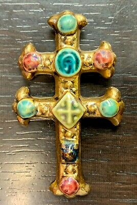 Pendant cross of Lorraine Vallauris Years 50 Ceramic - Signed M.Roussel