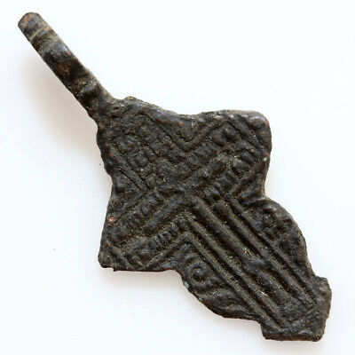 Balkans Bronze Religious Christian Cross Pendant With Inscriptions Circa 1600-1