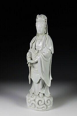 Large Antique 18c Chinese Dehua Porcelain Statue of Standing Guanyin