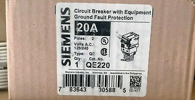 QE220 SIEMENS 2-POLE 10K EQUIP GROUND FAULT 30MA NEW IN BOX