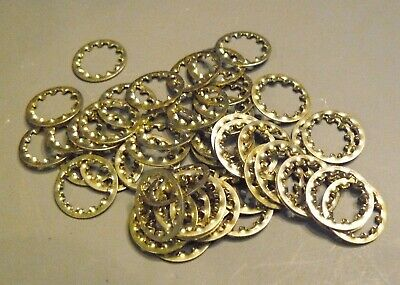 """(50) Steel Brass Plated Lock Washers 1/8"""" IPS (3/8"""" Dia.) Lamp Part (LW50)"""