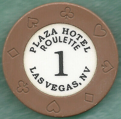 Obs. Gaughan's Plaza Hotel Of Las Vegas ~ Series 1 Brown Roulette Casino Chip