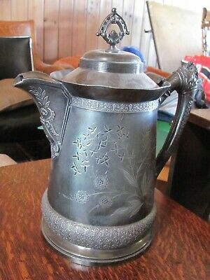 Victorian Water Pitcher Metal With Silver Plate, Dented And Holds Water