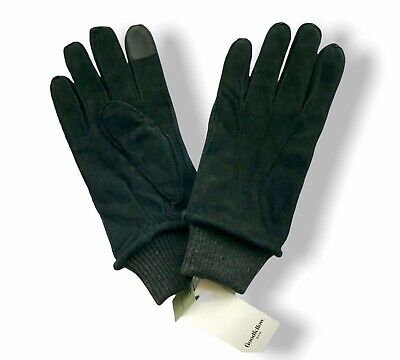 GOODFELLOW /& CO~MENS M BLACK LEATHER DRESS GLOVES~WOOL//CASHMERE LINING~CUFF~NWT