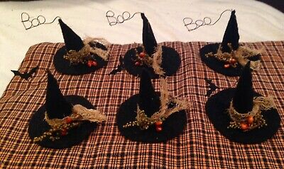 "Primitive 6 MINI Witches Hat HALLOWEEN Small FEATHER Tree Ornaments 2"" Tall"