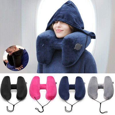 H-shaped Inflatable Travel Pillow Air Sleeping Cushion Nap Neck Head Rest Pillow