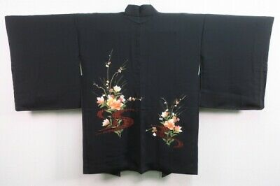 Vintage Japanese Ladies' Black Kimono Haori Jacket 'Peach Flowers/Cutwork' M/L