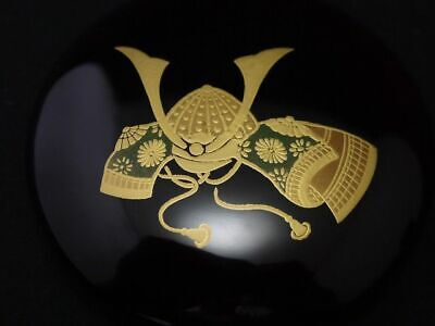 Japanese Lacquer Wooden Tea caddy SAMURAI HELMET makie Kinrinji-Natsume (710)