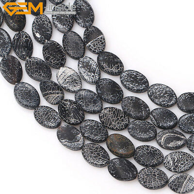 Natural Matte Frosted Oval Black Agate Onyx Loose Beads For Jewelry Making 15''