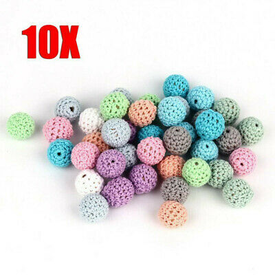 10pcs Crochet Wooden Beads Ball for Baby Teether Pacifier Chain Necklace DIY Toy