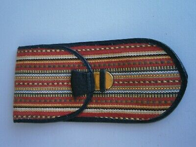 Vintage Eye Glass Holder Case Ethno Design Leather Lining Balkan Motif