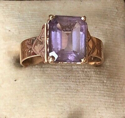 VICTORIAN AESTHETIC MOVEMENT GOLD AMETHYST RING UK SIZE 0 3 grams