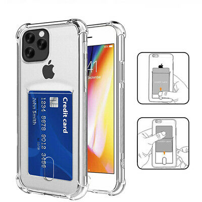For iPhone 11 Pro Max XS XR X 8 7 6s Plus Clear Airbag Card Slot Soft Case Cover