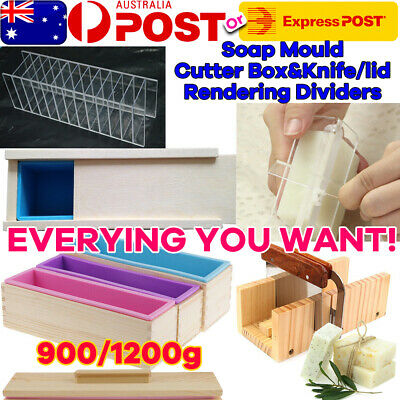 4Pc 1.2kg Wood Loaf Soap Mould+Lid+Cutter Blue Pink Silicone Mold Wooden Box OZ