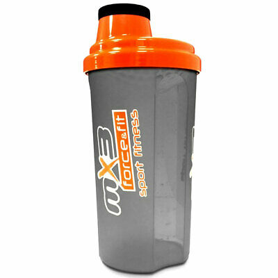 MX3 Force&Fit Shaker Muscle Gain Fitness Gym Supplement Mixer Bottle 600ml