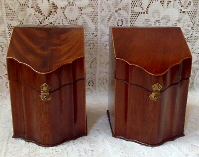 Unusual English 18th Century Mahogany Pair Of Playing Card Boxes, Antiques