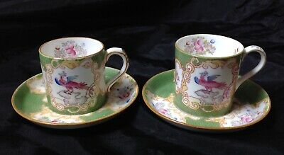 Minton Green Cockatrice, Hand Panted Antique Two Coffee Cans & Saucers