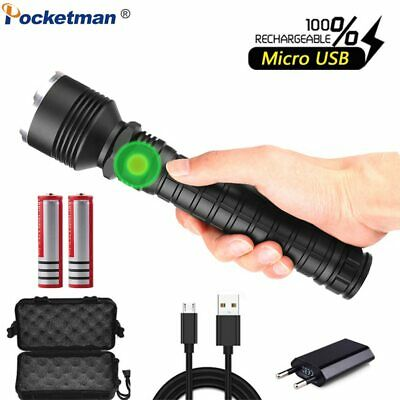 200000LM LED Flashlight XHP50 XHP70 USB Rechargeable Zoomable Torch 18650