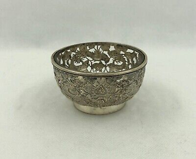 Antique Chinese Export Silver Dragon Bowl with glass liner, c.1840