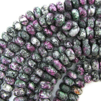 """10mm faceted ruby zoisite jade rondelle beads 15"""" strand"""