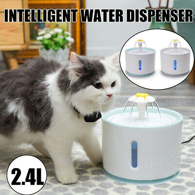 Electric LED Drinking Water Fountain Cat/Dog Automatic Bowl Filter & USB Cables