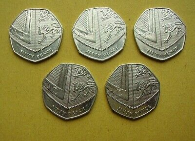 5 x 2017 Shield of Arms 50p - Rarer than the Newton and Jemima Puddle-Duck 50p