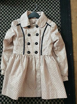 PINK COAT 5-6 Yrs DESIGNER Pink Dotty Spotty Frock Coat Jacket  Ex Cond
