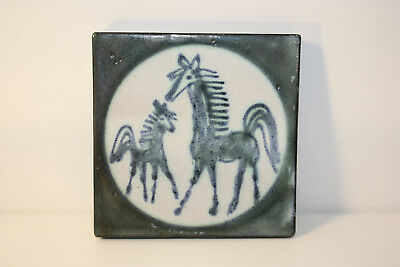 Monika Maetzel Ceramics Coasters/Wall Tile with Motif Horse & Pfohlen