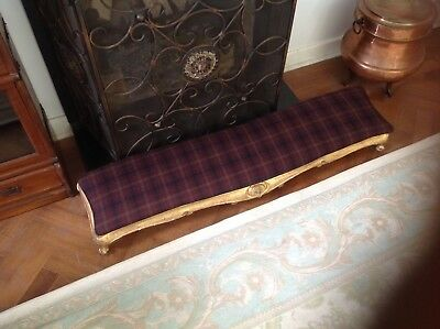 Antique Victorian  Long Foot Stool Fender Carriage Stool refurbished