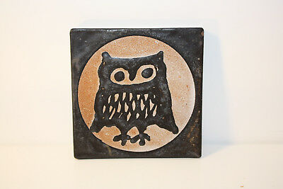 Monika Maetzel Ceramics Coasters/Wall Tile with Motif Owl