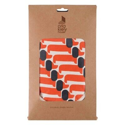 * NEW Orla Kiely Dachshund Dog Double Oven Glove Persimmon