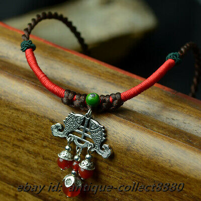 Chinese National Style Red Agate/Miao Silver Two Fish Fashion Necklace Pendant