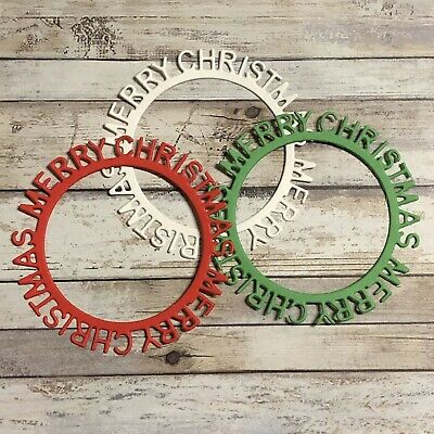 Red, Green & White Round Merry Christmas Die Cuts Card Making Scrapbook Craft