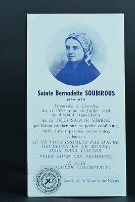 Rare French relic card St Bernadette Soubirous double side